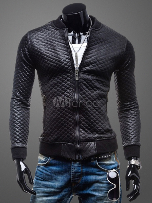 Quilted Black Jacket Men's Long Sleeve PU Leather Zip Up Jacket