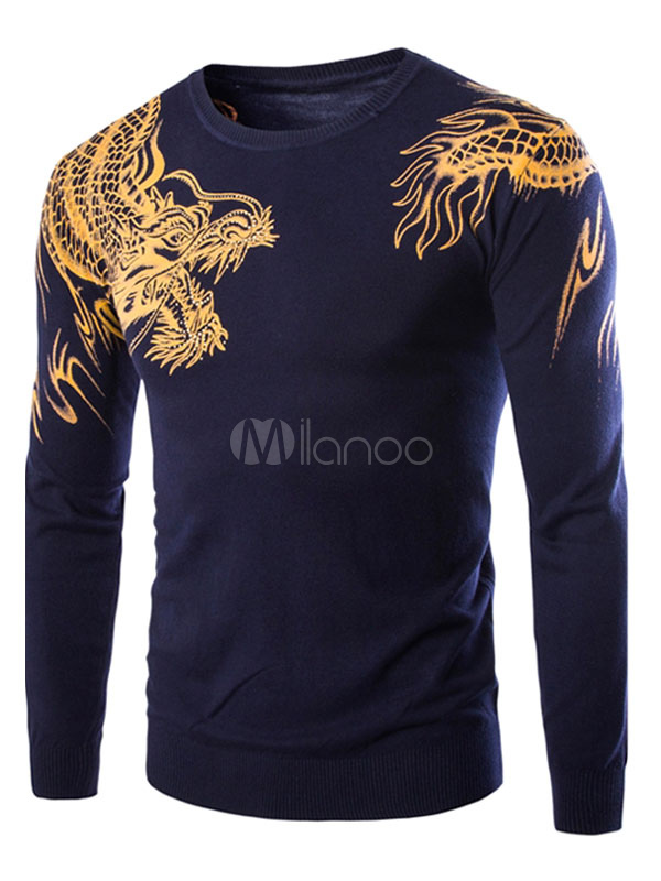Men's Pullover Sweater Dragon Printed Long Sleeve Round Neck Casual Knit Sweater