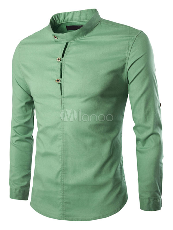 Men's Green Shirt Stand Collar Long Sleeve Cotton Slim Fit Casual Shirts
