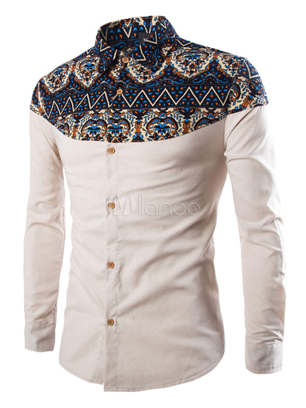 Men's White Shirts Ethnic Print Long Sleeve Cotton Casual Shirts