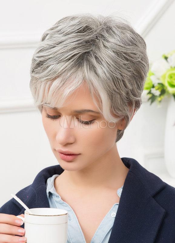 perruques de cheveux humains c t gris argent bang couches perruques cheveux courts pour femmes. Black Bedroom Furniture Sets. Home Design Ideas