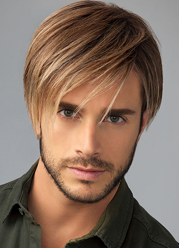 Men S Hair Wigs Flaxen Short Straight Side Parting Synthetic Wigs
