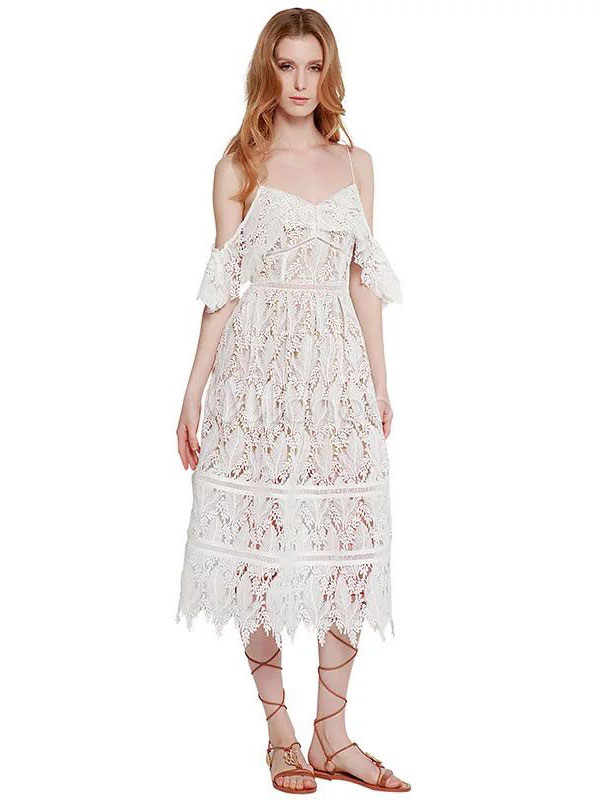 Buy White Long Dress Lace Strappy Sleeveless Cut Out Slim Fit Dress For Women for $48.72 in Milanoo store