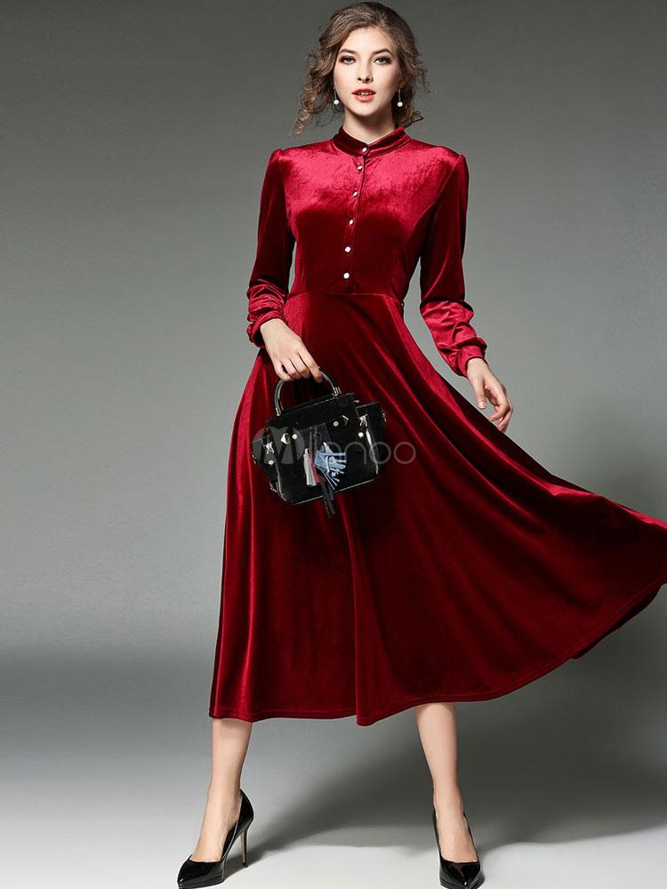 1a9412652fc Бордового платья макси стенд воротником с длинным рукавом Плиссированные длинное  платье-No.1 ...