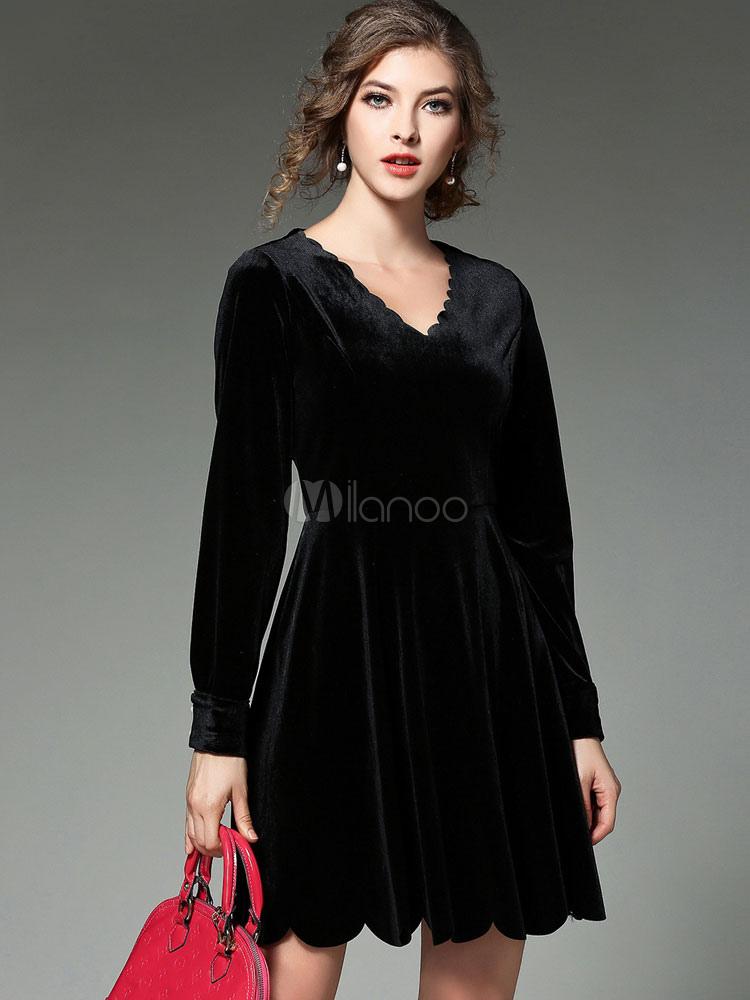 Milanoo / Black Skater Dress Velvet V Neck Long Sleeve Pleated Slim Fit Flare Dress
