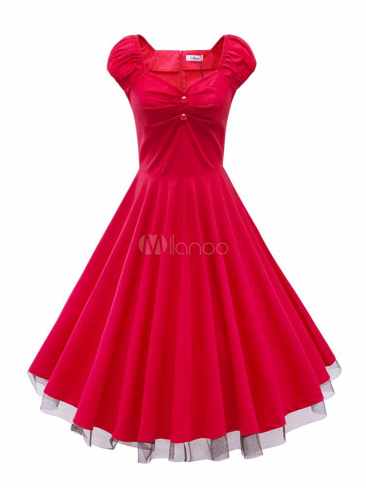 Red Vintage Dress Sweetheart Neckline Short Cap Sleeve Pleated Skater Dress