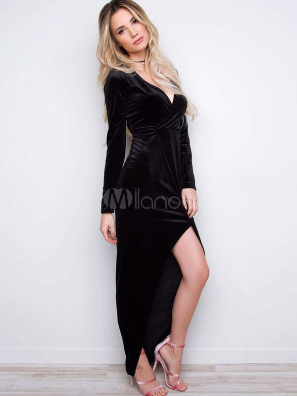 5f0834dbbaa2b Black Maxi Dress Velvet V Neck Long Sleeve Split Long Dress For Women-No.