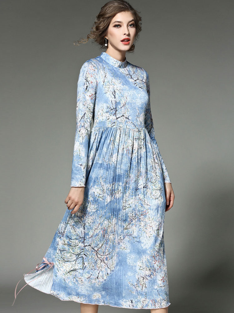 3a8f77b0ae Women s Maxi Dress Light Sky Blue Printed Stand Collar Long Sleeve Pleated  Long Dress- ...