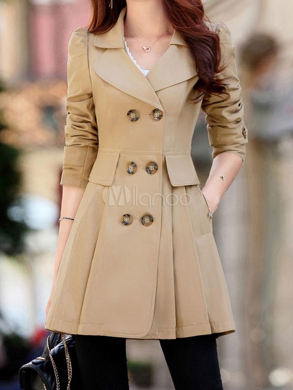 Women Trench Coat Fit And Flare Coat Khaki Long Sleeve Double Breasted Rain Coat