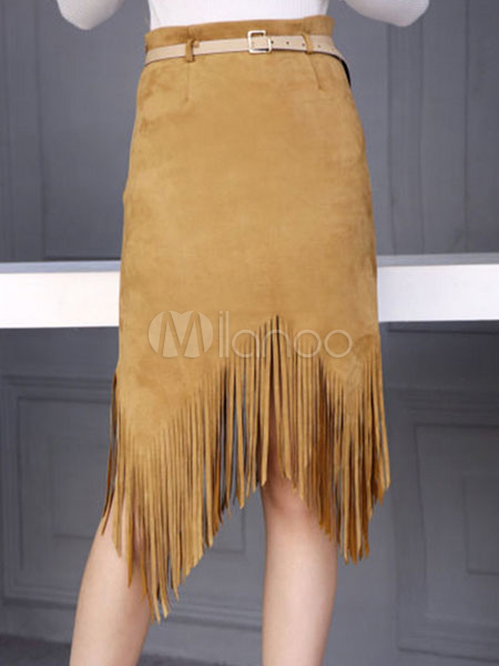 Buy Suede Bodycon Skirt Brown Irregular Slim Fit Sheath Skirt With Tassels for $25.34 in Milanoo store