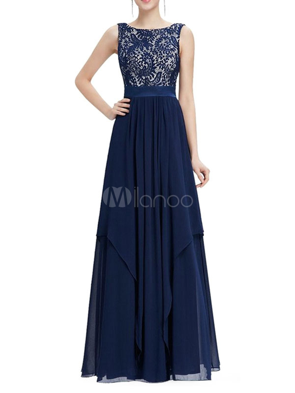 Chiffon Maxi Dress Lace Patchwork Backless Women's Tiered Sash Sleeveless Long Dress