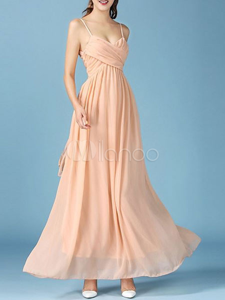 Milanoo / Chiffon Maxi Dress Apricot Strappy Sleeveless Cross Front Pleated Long Dress
