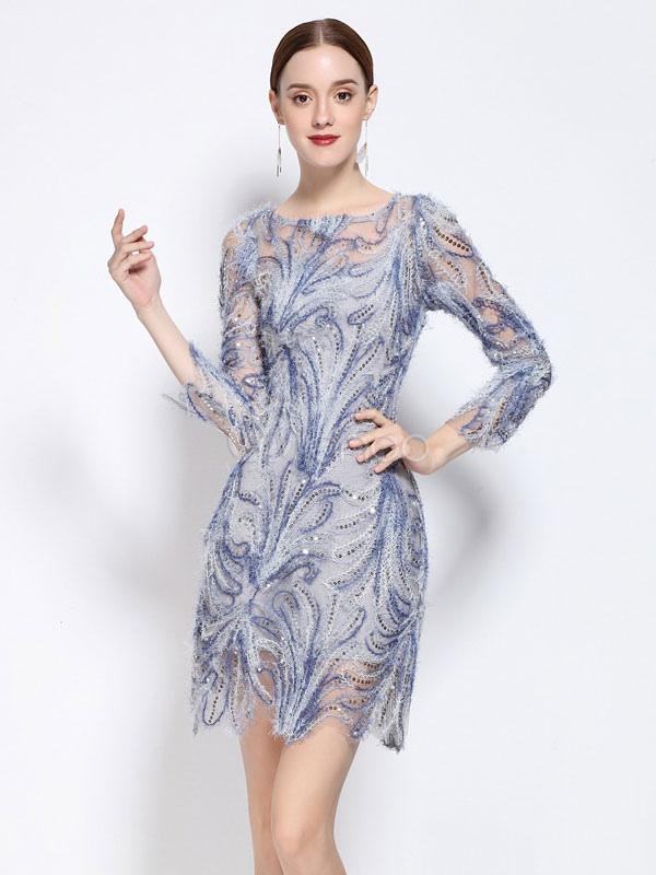 Women's Party Dress Sequined Illusion Blue Round Neck 3/4 Length Sleeve Short Dress Cheap clothes, free shipping worldwide
