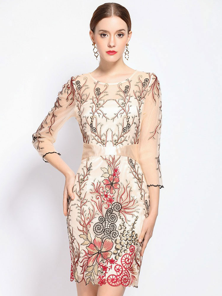 Red Bodycon Dress Women's Illusion Round Neck Half Sleeve Floral Embroidered Slim Fit Sheath Dress Cheap clothes, free shipping worldwide