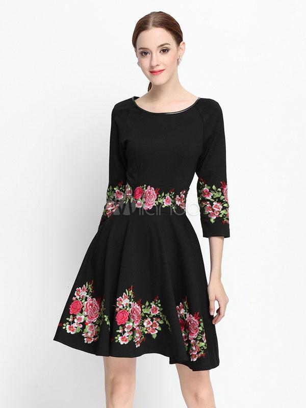 free shipping 9ca17 8e644 Vestito nero fiori donna ricamati mezza manica girocollo al ginocchio  lunghezza Flare abito Skater
