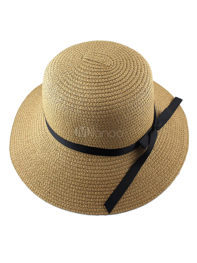 Straw Cloche Hat Women's Sun Hat With Bow Band