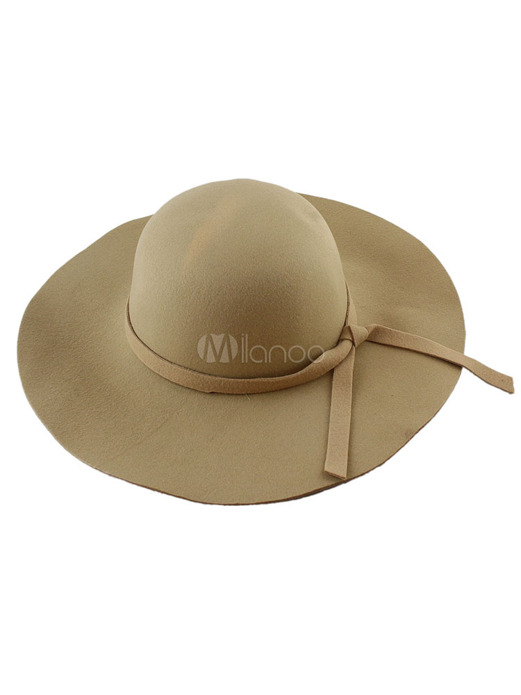 Buy Women's Felt Hat Wool Wide Brim Floppy Hat With Bow Band for $9.49 in Milanoo store