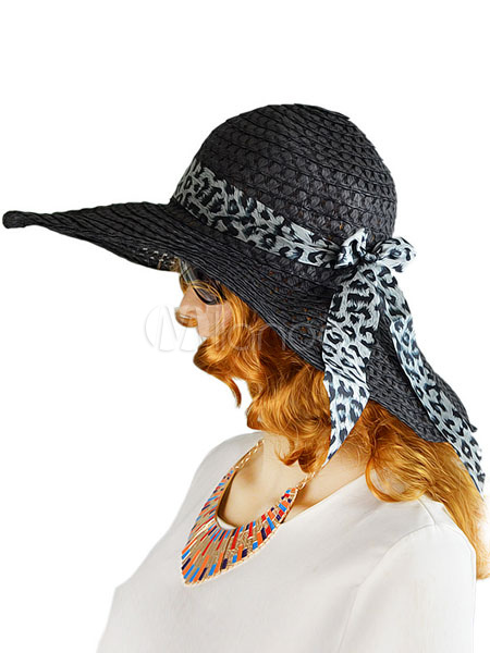 Women's Sun Hat Wide Brim Straw Floppy Hat With Leopard Printed Bow Band