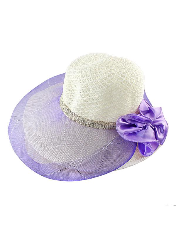 Women's Sun Hat Beach Bow Straw Floppy Hat With Sheer Mesh Wrap
