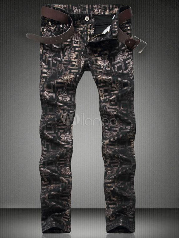 Buy Printed Black Jeans Painted Men's Straight Leg Denim Jeans for $40.49 in Milanoo store