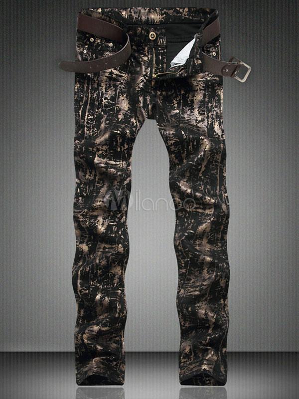 Buy Black Denim Jeans Full Painted Men's Skinny Printed Jeans for $40.49 in Milanoo store