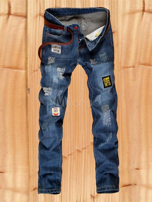 Buy Blue Denim Jeans Men's Distressed Logo Straight Leg Skinny Jeans for $43.19 in Milanoo store