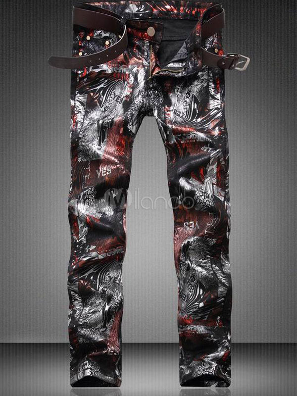 Buy Printed Denim Jeans Black Men's Skinny Leg Jeans for $42.74 in Milanoo store