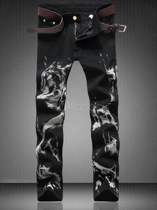 Negro Denim Pantalones De Jean Para Hombre 2021 3d Lobo Impreso Pantalon De Pierna Recta Pantalones De Jean Milanoo Com