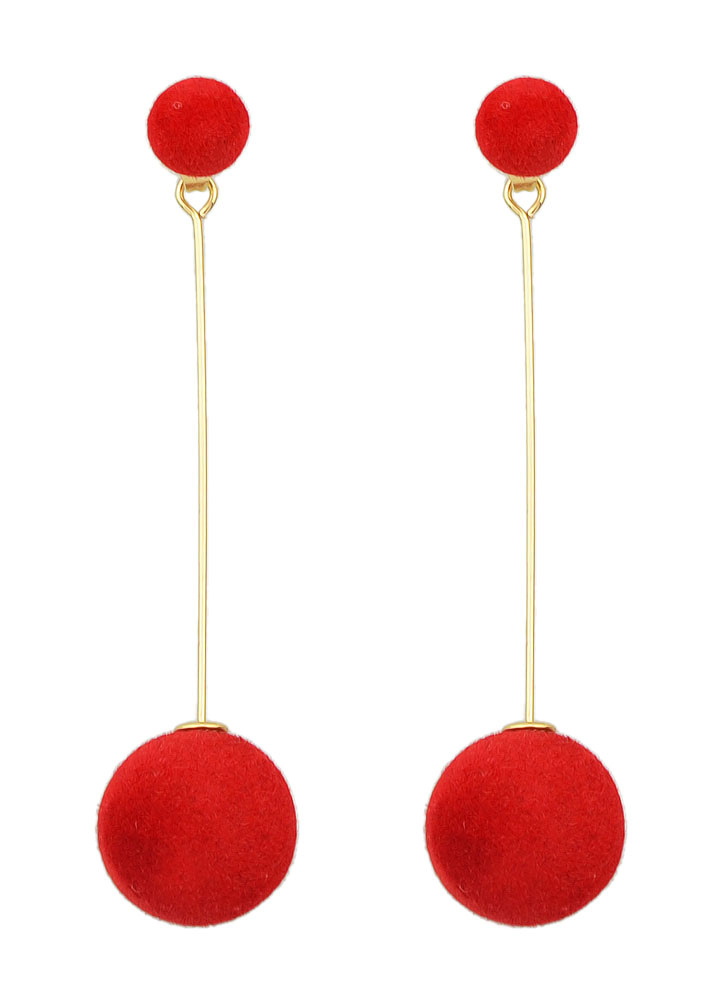 Buy Red Drop Earrings Alloy Pierced Pom Poms Dangle Earrings for $2.75 in Milanoo store