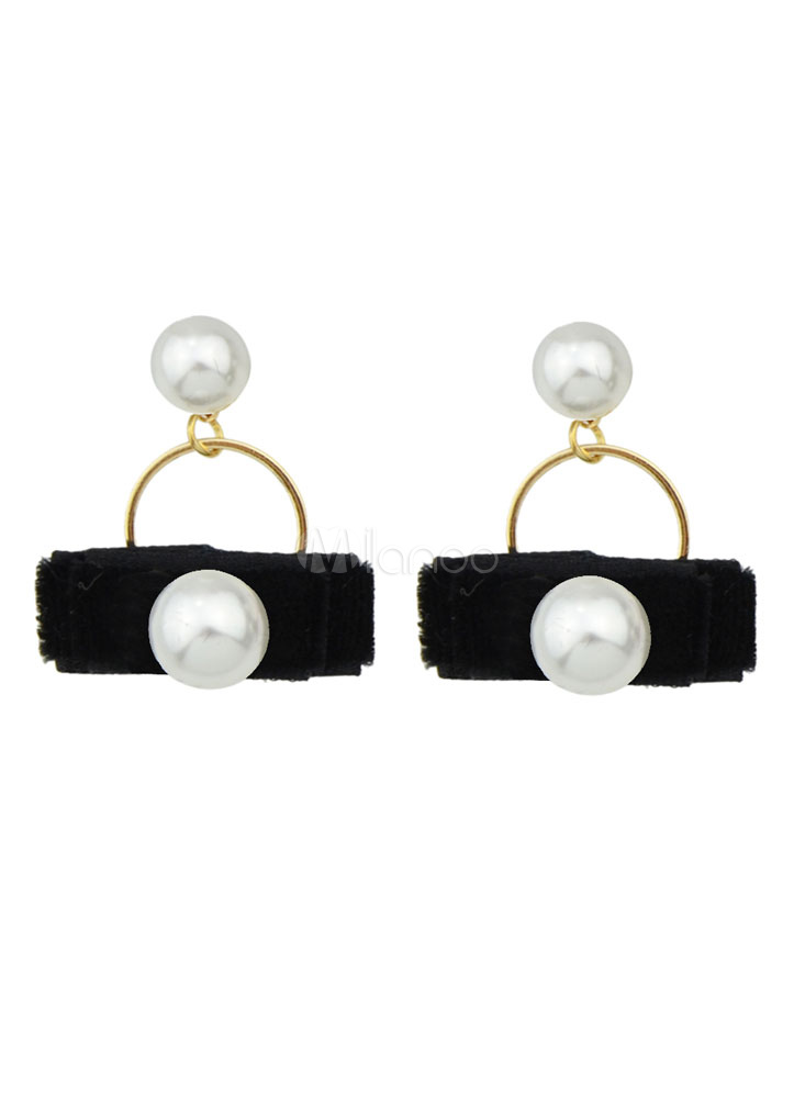 Buy Women's Pearl Earrings Pierced Hoop Dangle Earrings for $2.54 in Milanoo store