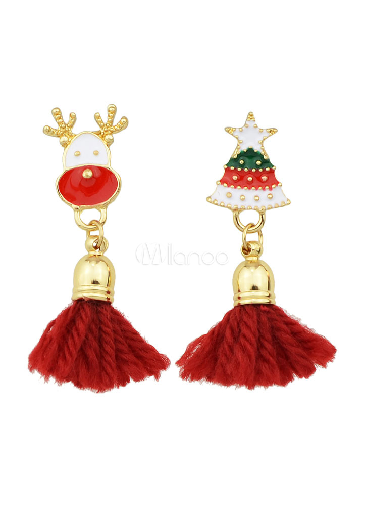 Buy Red Fringe Earrings Christmas Pattern Pierced Dangle Earrings for $2.54 in Milanoo store