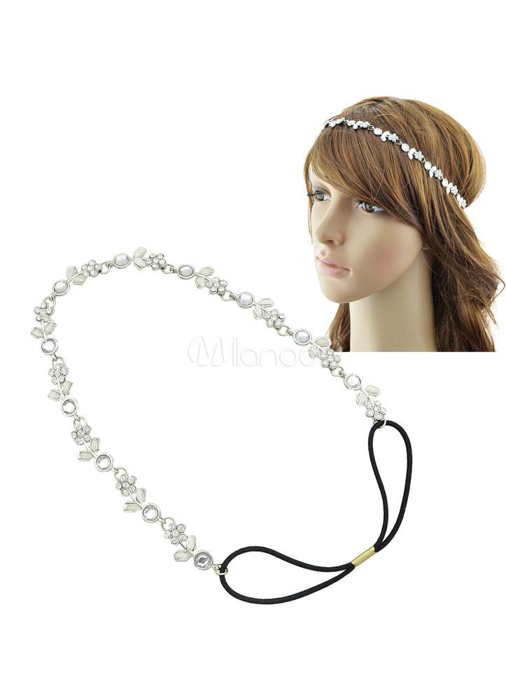 Women's Silver Headpiece Crystal Flower Hair Accessories