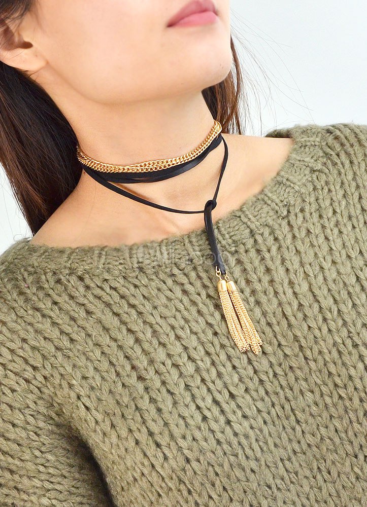 collier tour de cou en faux cuir couches frange collier pour femmes. Black Bedroom Furniture Sets. Home Design Ideas