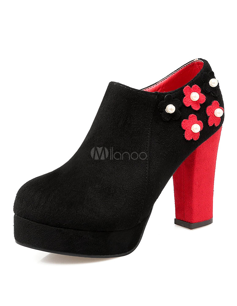 b227d45f906 Platform Ankle Boots Suede Chunky Heel Booties Pearl Flower Low Top Two  Tone Boots For Women