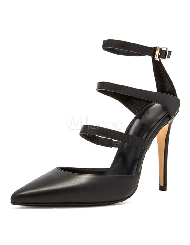 Buy Black High Heels Pointed Toe Ankle Strap Leather Pumps Shoes for $53.19 in Milanoo store