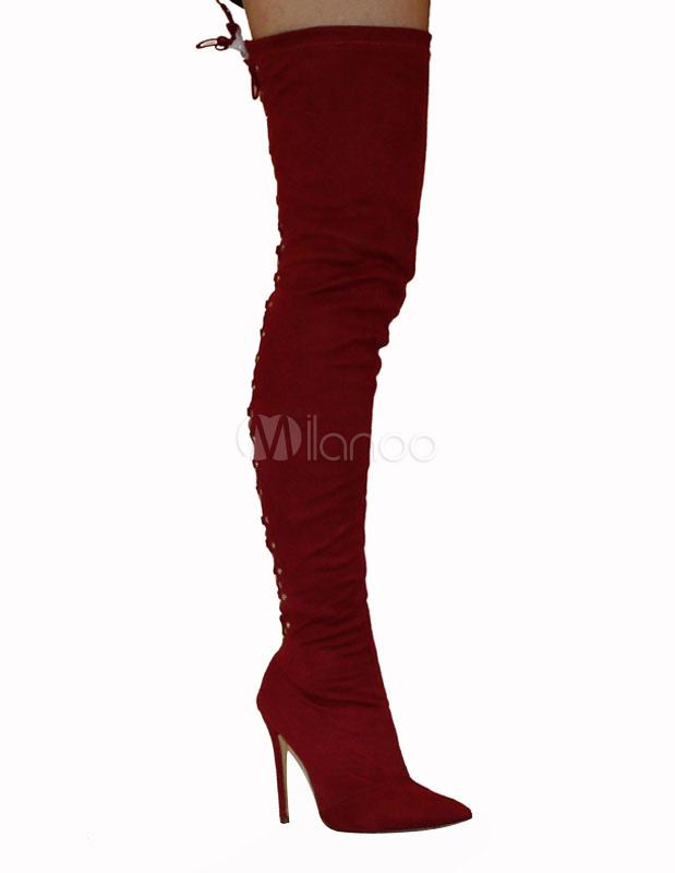 Sobre las botas de la rodilla tacón alto señaló el dedo del pie hasta el tacón estilete estiramiento botas altas v9HYjLoa8A