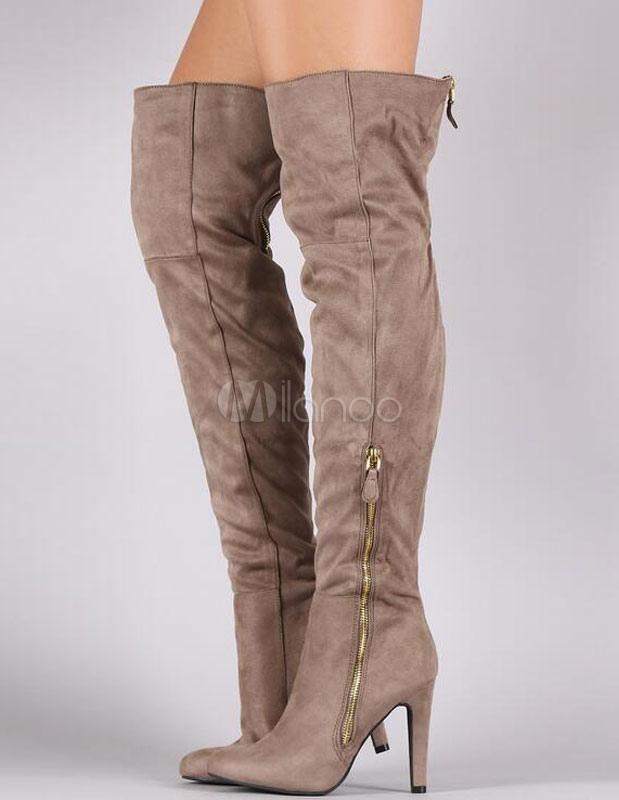 Botas altas botas sobre la rodilla de tacón alto grueso botas mujer baratas biN0bJ9TR