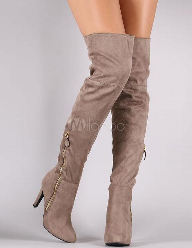 Over Knee Boots High Heel Grey Round Toe Zipper Stiletto Heel Women's High Boots