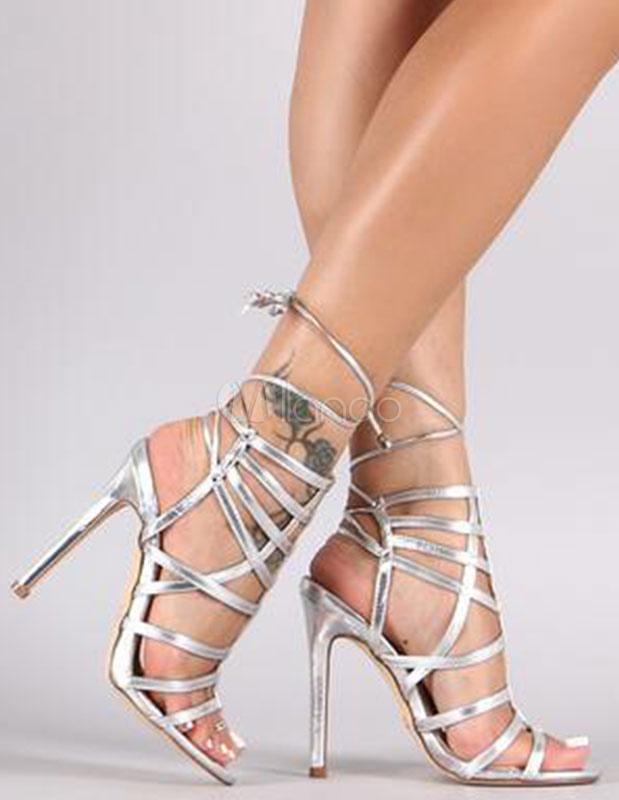 de mujeres arriba las para sandalias verano Open zapatos Rubio ATA tacón para Toe los Gladiador wvqwxgn6