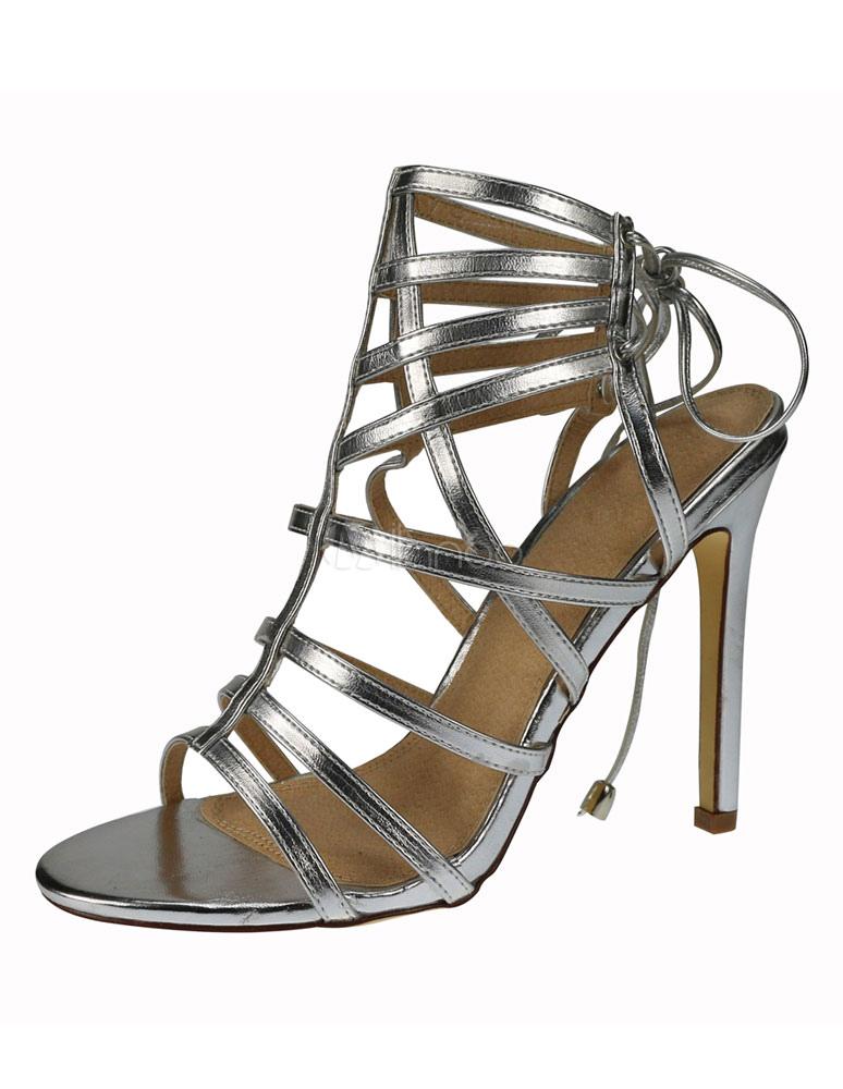tacco Biondo gladiatore Open donne scarpe le per Lace alto sandali estate Toe Up rqrwnAREdx