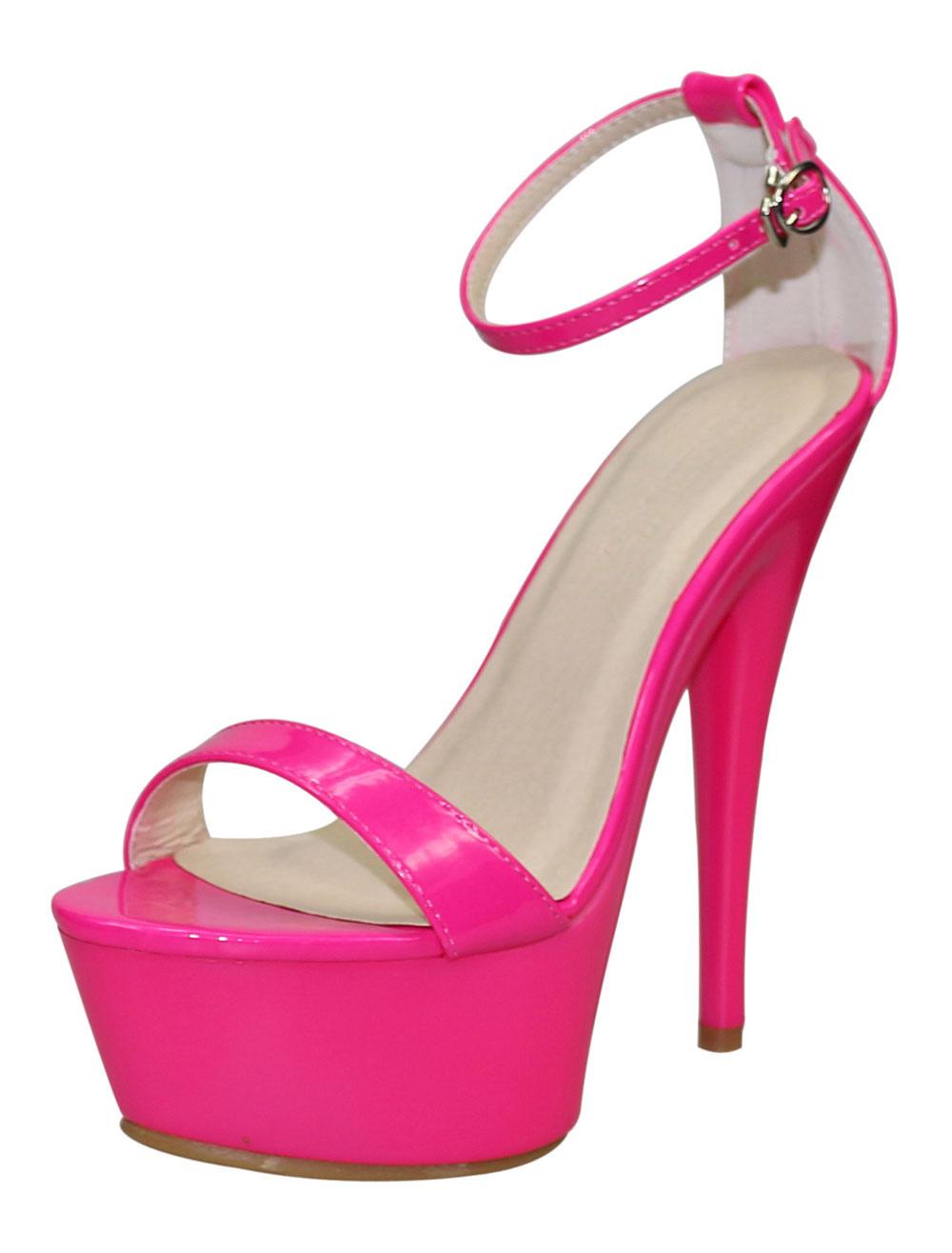 Women's Platform High Heels Rose Red Ankle Strap Prism Heel Sandals