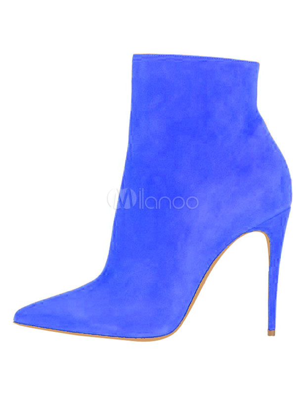 4b029efdd53d ... Suede Black Booties High Heel Pointed Toe Ankle Boots Women s Solid  Color Stiletto Party Shoes- ...