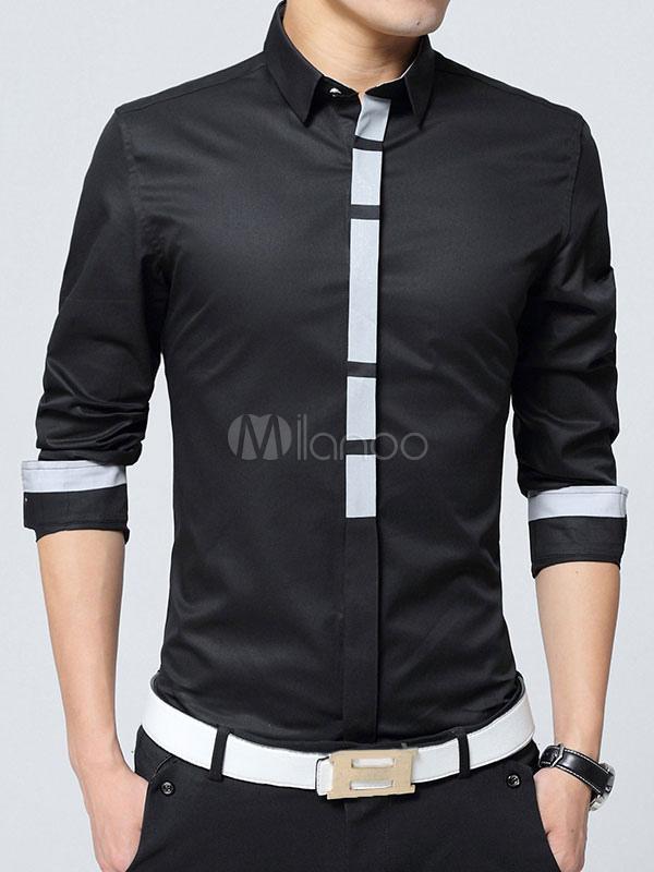 Manches Longues 2 Couleurs Noire Chemises Hommes À Chemise Slim Fit 4t7RU