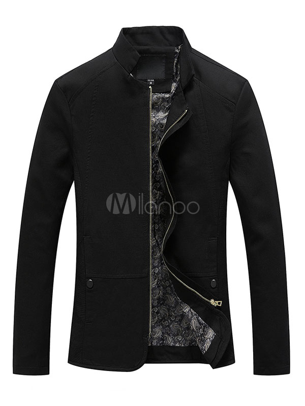 Men's Black Jacket Long Sleeve Stand Collar Slim Fit Lightweight Jacket