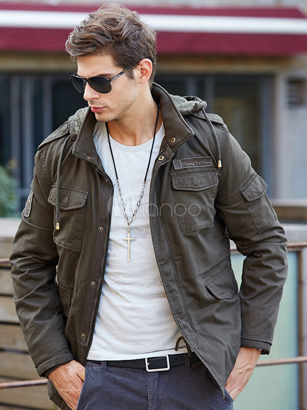 Men's Military Jacket Drawstring Hooded Lined Cargo Jacket