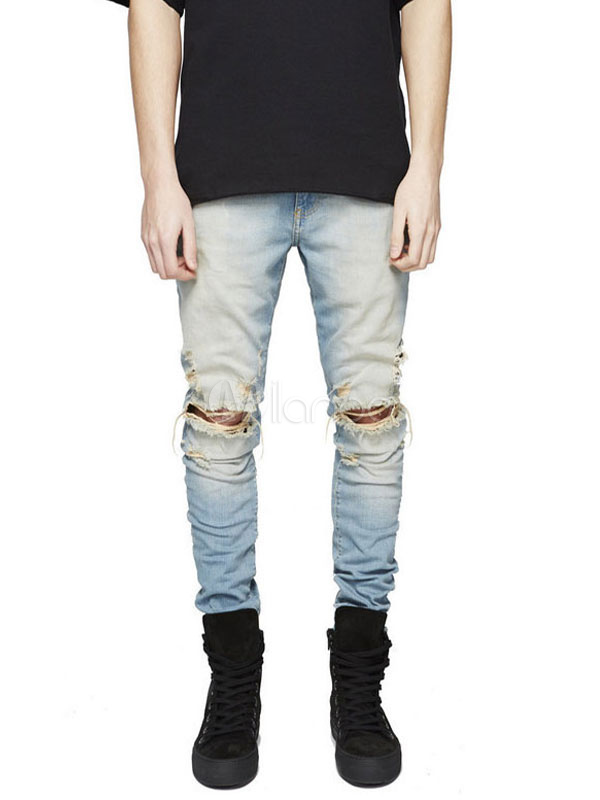 Ripped Jean Men Distressed Light Blue Skinny Jeans