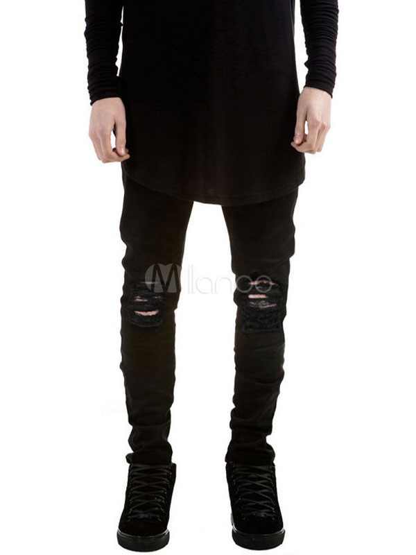 Buy Black Denim Jeans Cowboy Style Skinny Leg Ripped Jeans For Men for $26.99 in Milanoo store