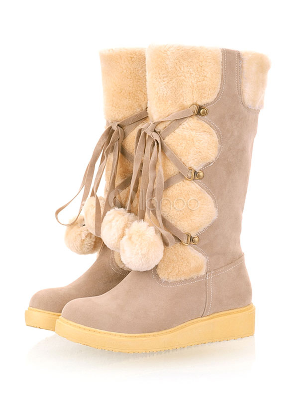 Botas de caña piel sintética color liso con pompón estilo informal yr0aykbEx