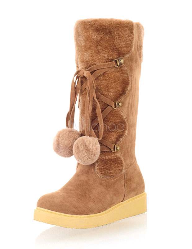Brown Snow Boots Mid Calf Wedge Boots Women's Lace Up Suede Boots With Pom Poms