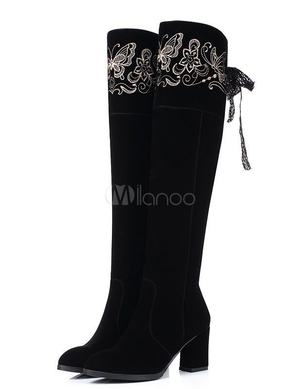 Suede Knee High Boots Black Chunky Heel High Boots Women's Embroidered Round Toe Winter Boots With Ribbon